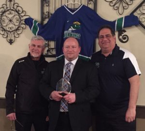 From left to right: Assistant Coach Wayne Brown, Head Coach and award recipient Marty Quarters, and Riverkings owner John Schwarz. (Contributed Photo)