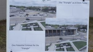 """""""before and after"""" concepts of the triangle redevelopment project. (City Times Photo)"""