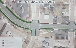 The traffic signal alternative for Jackson St. (City Times Photo) *click to enlarge