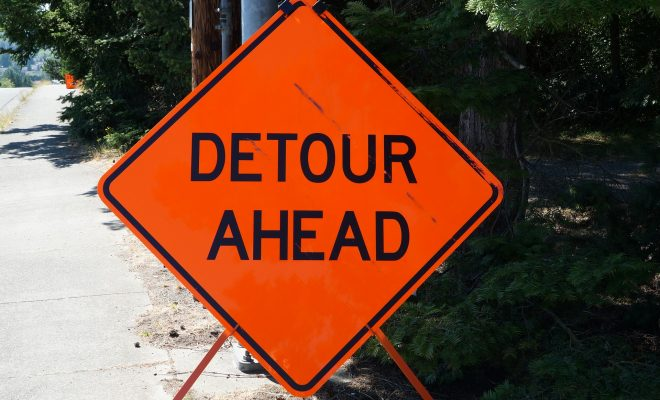 Detour Sign Stock